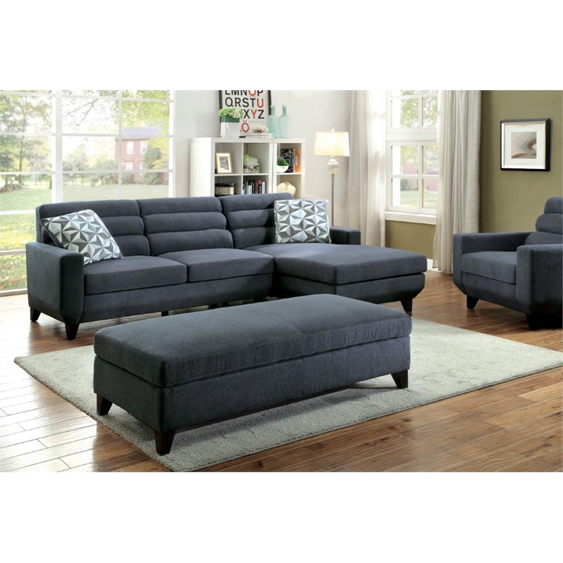 Furniture of America Mylah 2 Piece Sectional and Ottoman Set
