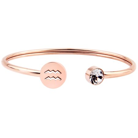 Gold Filled Cuff Bracelet (Simple Rose Gold Zodiac Sign Cuff Bracelet with Birthstone Birthday Gift for Women Girls(Aquarius) )
