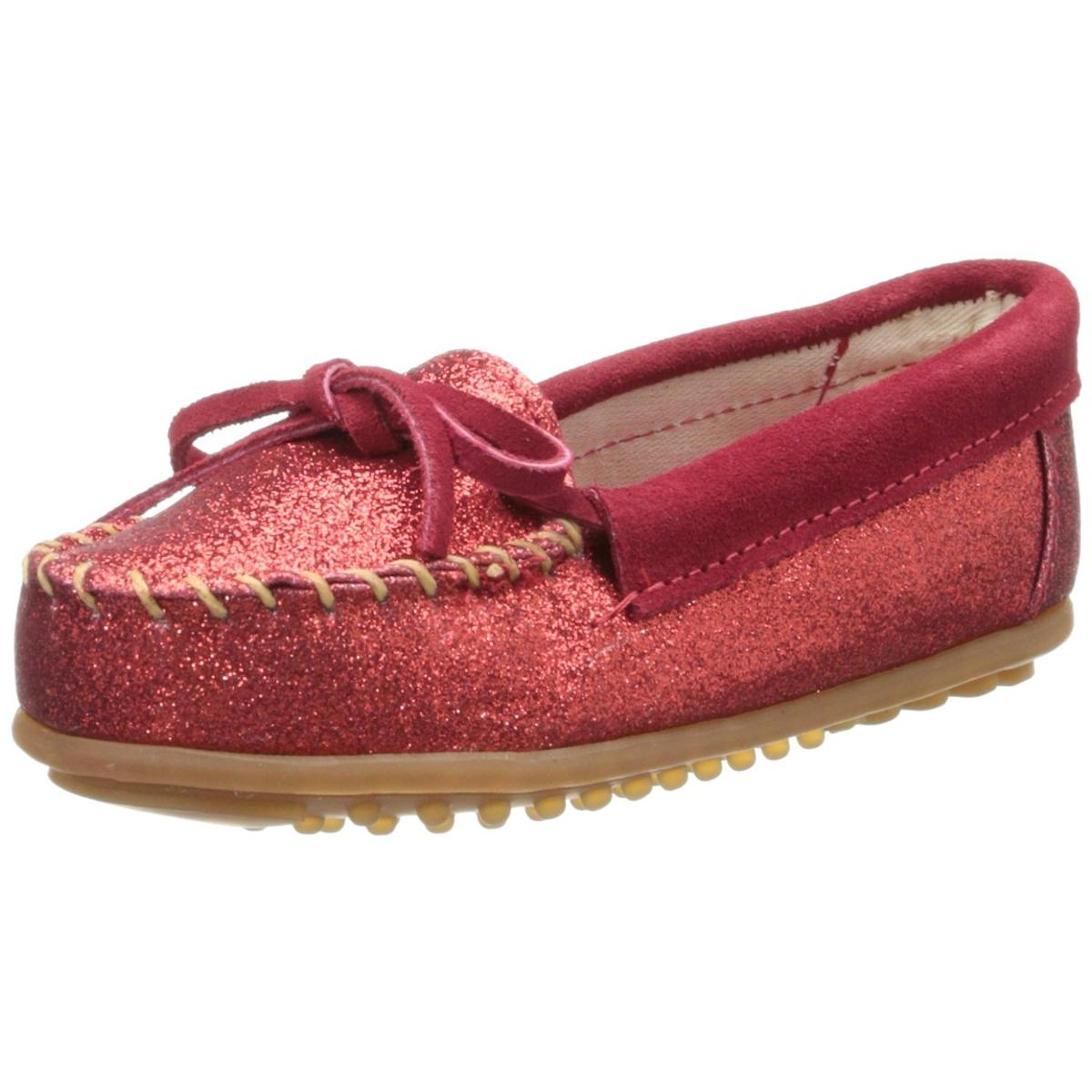 Minnetonka Girls Red Glitter Moccasin by Minnetonka
