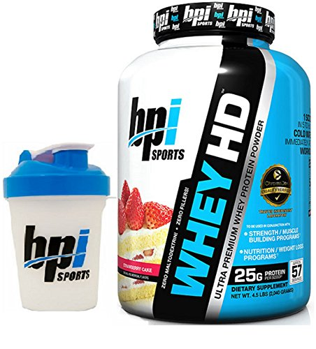 BPI Sports Whey-HD Ultra Premium Whey Protein Powder, 4.5 lbs with BONUS BPI Shaker Bottle (Strawberry Cake)