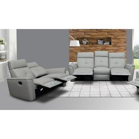 ESF 8501 Chic Light Grey Italian Leather Recliner Sofa Loveseat Set 2Pcs