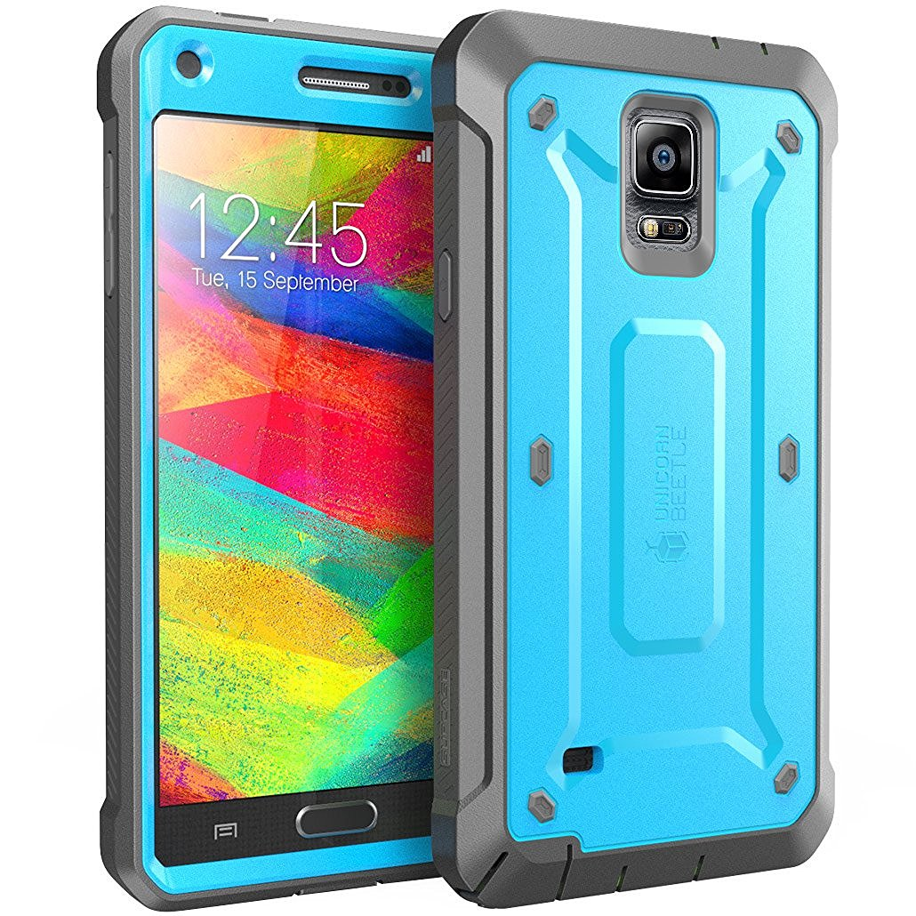 SUPCASE Galaxy Note 4 Case - Unicorn Beetle Pro Series Protective Cover with Built-in Screen - Blue Black