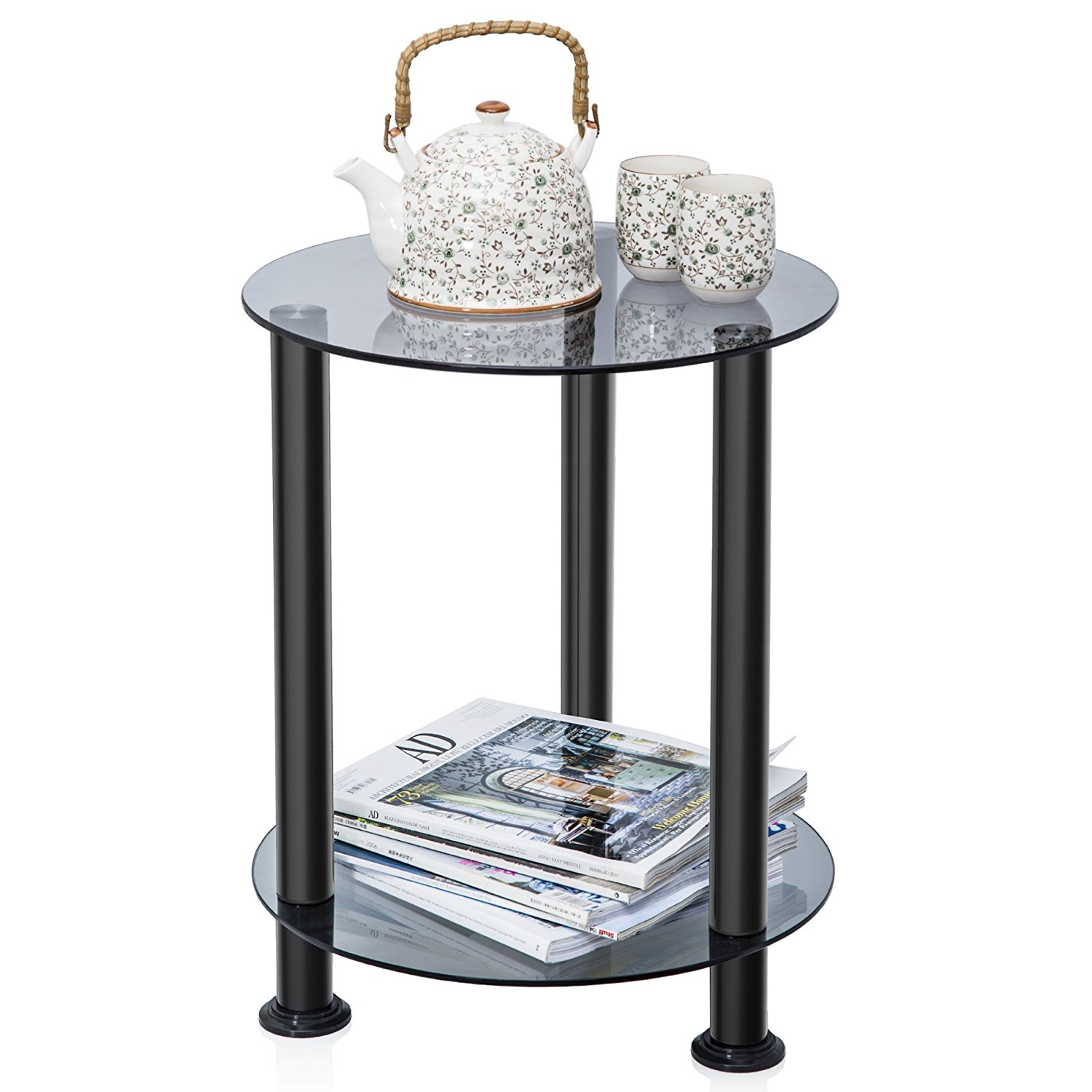 Fitueyes Grey Glass End Table Accent Side Table Coffee Table DT203801GT by FITUEYES