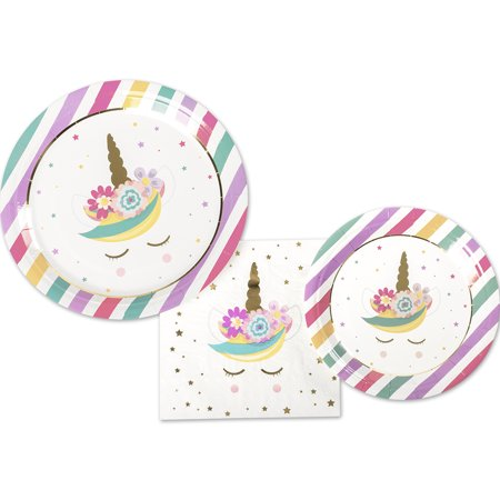 Andaz Press Tableware Unicorn Party Plates and Napkins Set, 12 Piece Set 9-Inch, 7-Inch Plates, 40-Pack 6.5-Inch Napkins (Alphabet Party Plates)