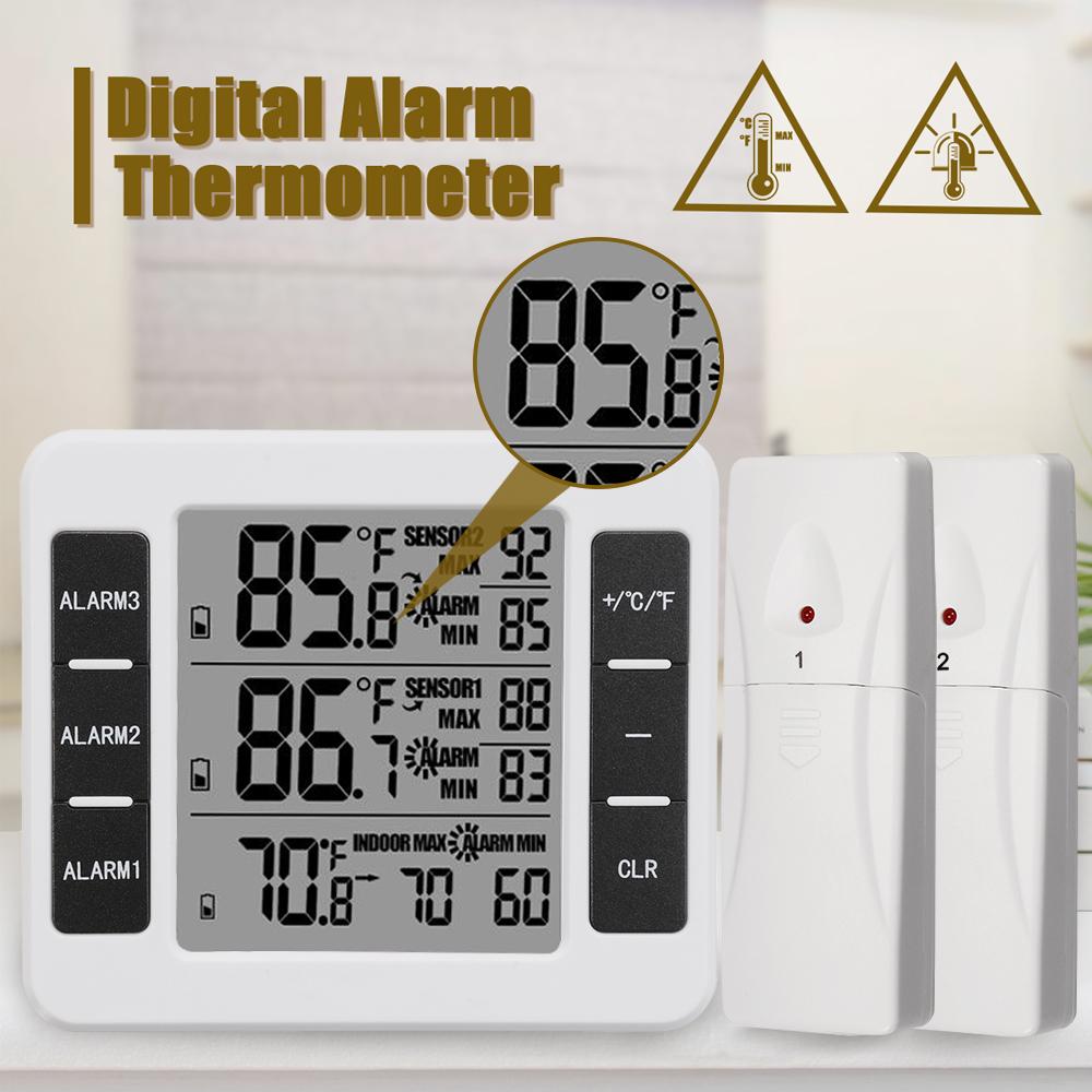 LCD Wireless Digital Freezer Thermometer Indoor Outdoor Audible Alarm 2PC Sensor New