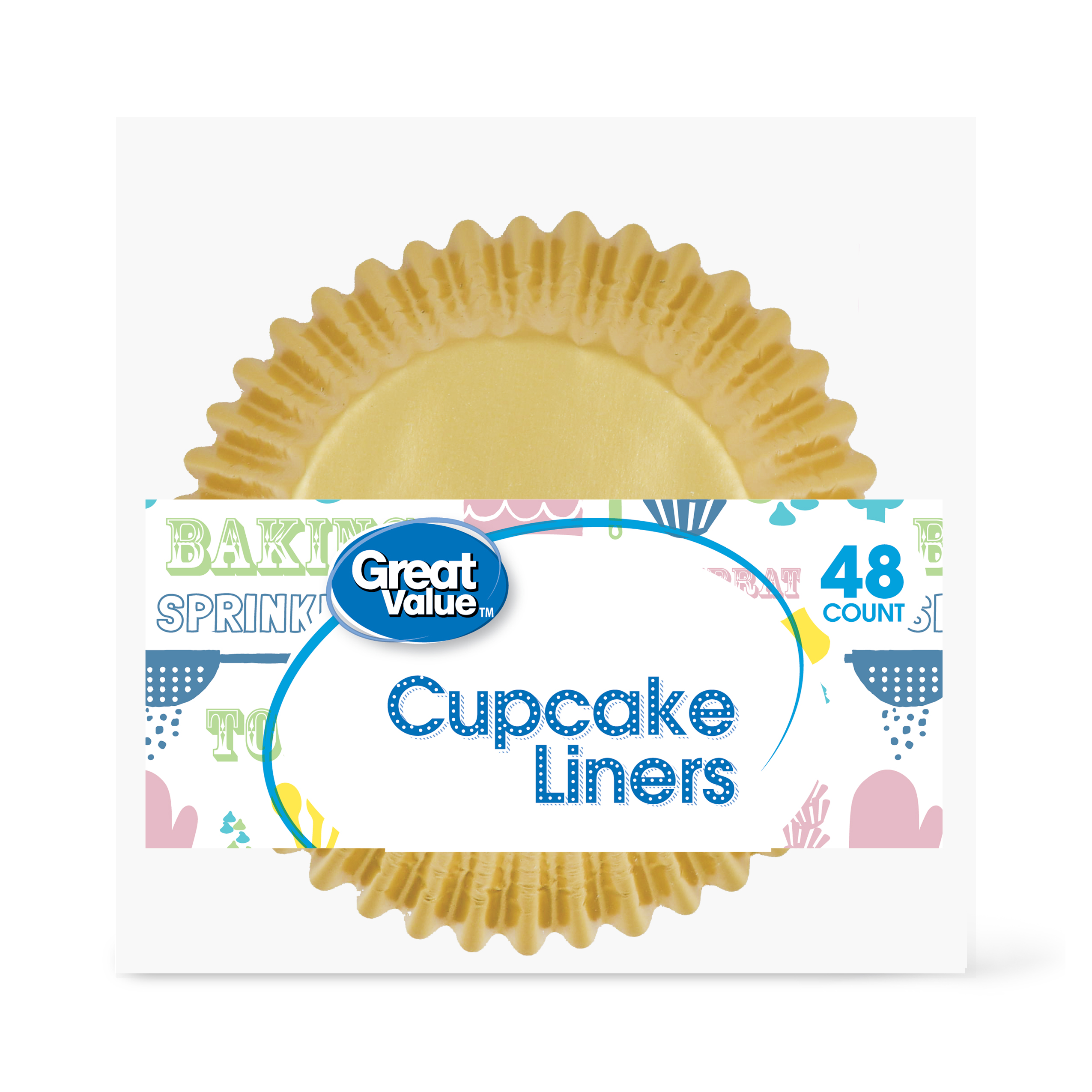 Great Value Cupcake Liners, Gold, 48 Count