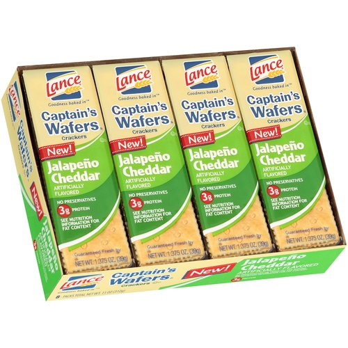 Lance Captain's Wafers Jalapeno Cheddar Crackers, 1.375 oz, 8 count