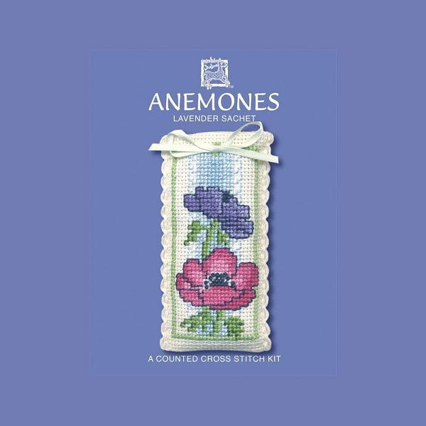 Textile Heritage Lavender Sachet Counted Cross Stitch Kit - Anemones