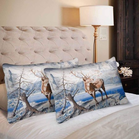 GCKG Cute Deer Tree Winter Forest Plant Animal Pillow Cases Pillowcase 20x30 inches Set of 2 - image 2 de 4