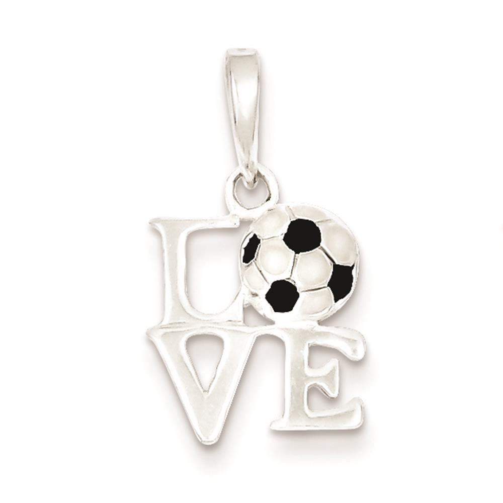 925 Sterling Silver Polished Enamel Love Soccer 16mm x 12mm Charm Pendant