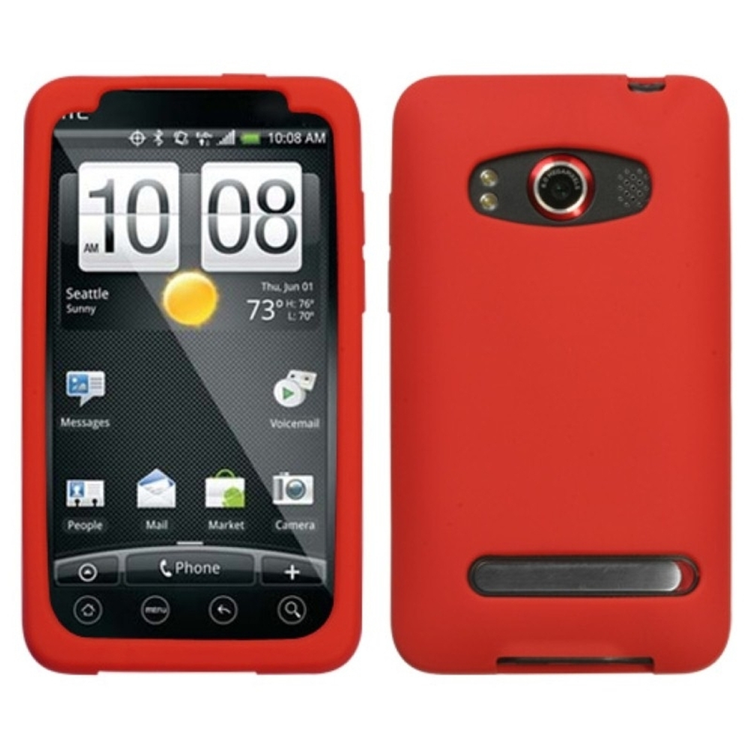 Insten Solid Skin Case Cover (Red) for HTC: EVO 4G