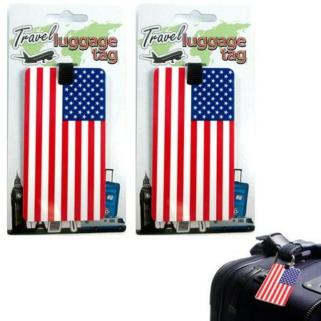 AllTopBargains 2 Pc Set USA Luggage Tags Label ID Suitcase Bag Baggage Travel American Flag (Flag Luggage Tag)
