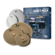 """Zildjian 468 Low Volume Cymbal Pack with Remo Silentstroke Heads - 13"""" Hi Hats, 14"""" Crash, and 18"""" Crash Ride"""