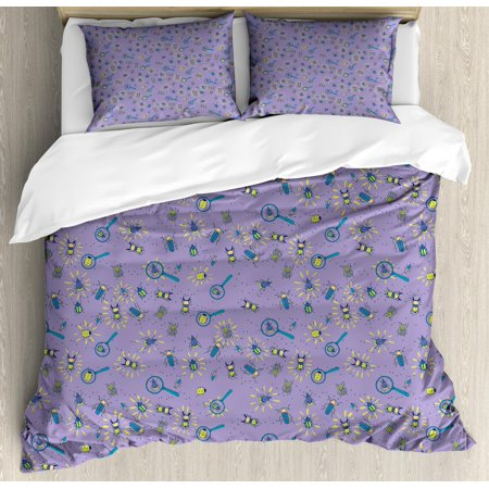 Firefly Duvet Cover Set Queen Size, Ladybugs Beetles Night Symbol Nature Bugs and Insects Mystic Illustration, Decorative 3 Piece Bedding Set with 2 Pillow Shams, Lavender Yellow Teal, by Ambesonne - Firefly Shoes