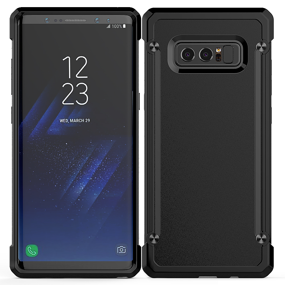 Hard Frost Back Bumper Shockproof Slim Protective Phone Cover For New Samsung Galaxy Note 8 Case (All Black)
