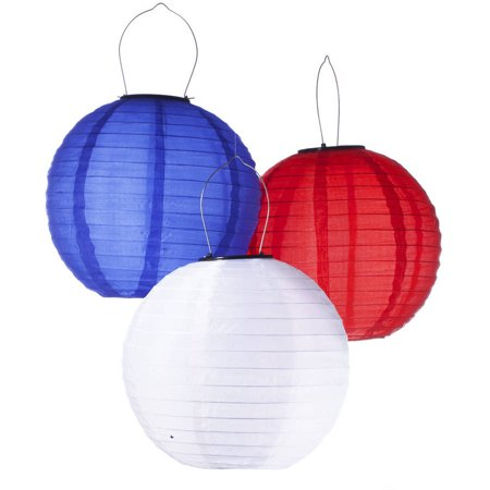 Pack Of 3 Solar Ed Waterproof Oriental Led Light Up Chinese Lanterns Red White Blue No Batteries Or Plug Needed