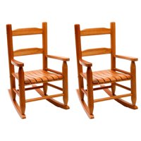 Lipper Child's Eco Friendly Rubberwood Rocking Seat Chair, Pecan Finish (2 Pack)