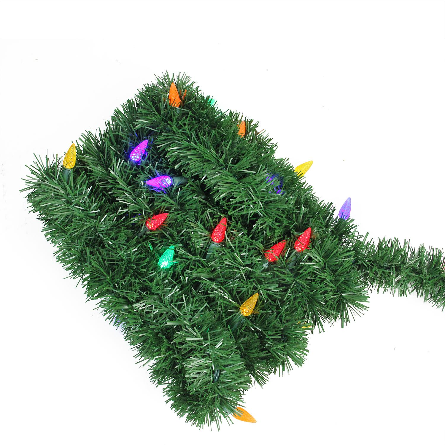 18' Pre-Lit Green Pine Artificial Christmas Garland - Multi LED C6 Lights