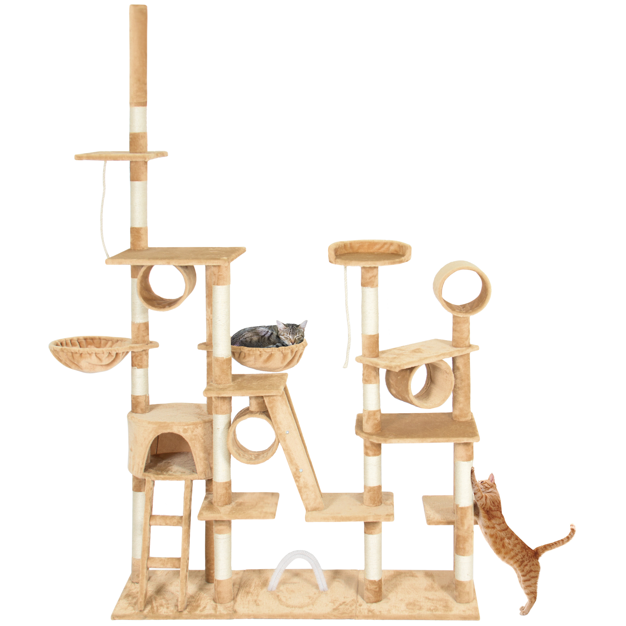 Best Choice Products 96in Cat Tree Scratcher Condo Palace Play Furniture Beige by Best Choice Products