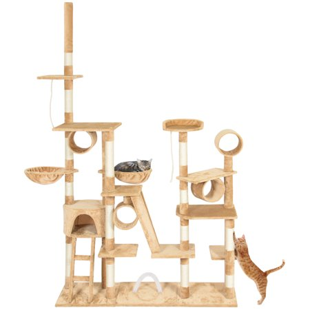 Best Choice Products 96in Cat Tree Scratcher Condo Palace Play Furniture - Beige