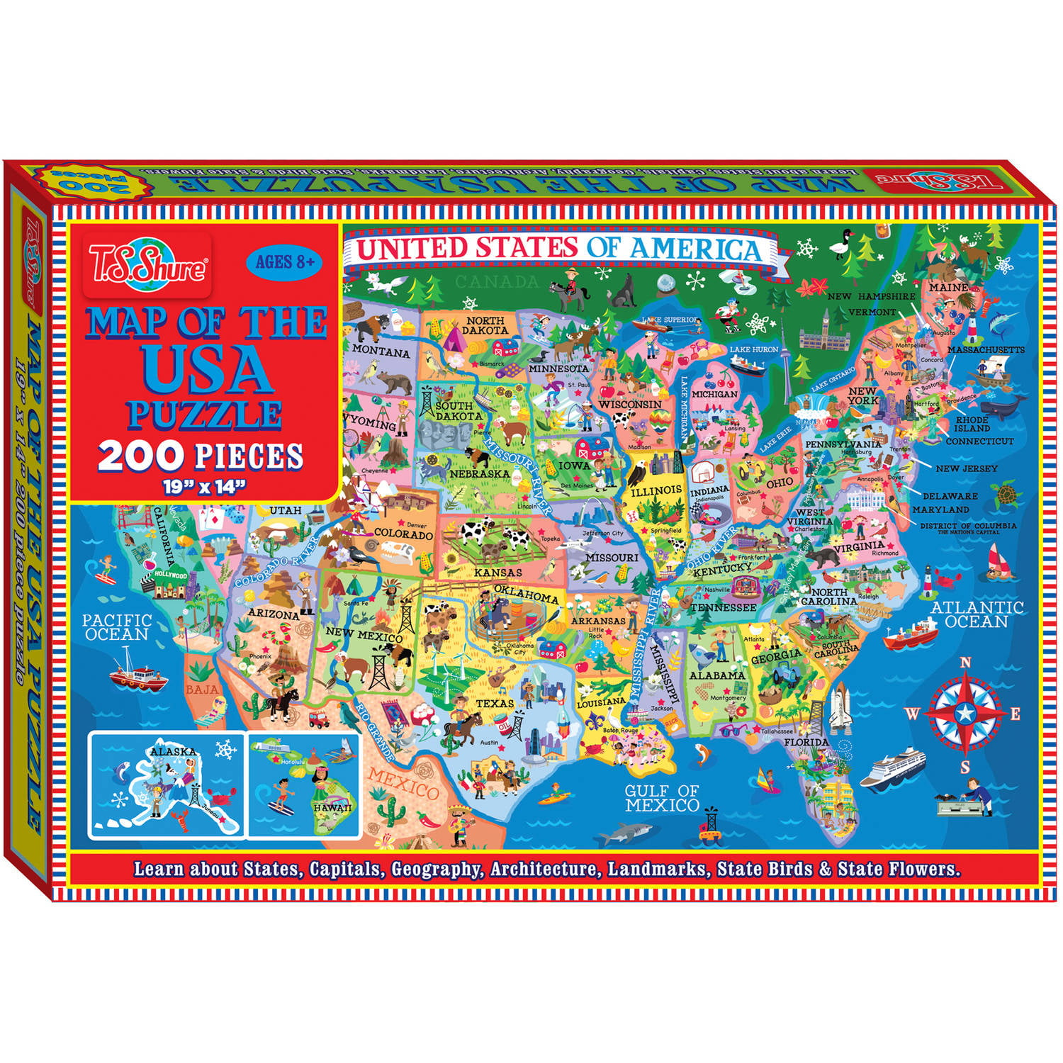 T.S. Shure Map of the U.S.A. Jigsaw Puzzle, 200 Pieces by T.S. Shure