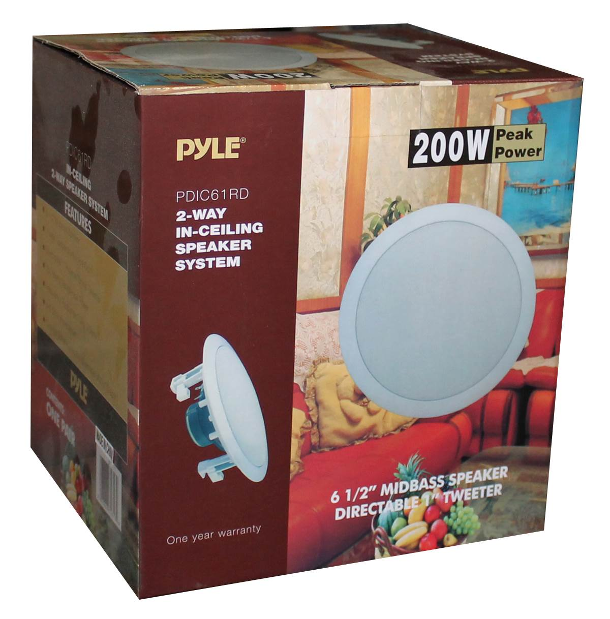 2 Pack PYLE PRO PDIC61RD 6.5/'/' 200W 2-Way In-Ceiling//Wall Speaker System White