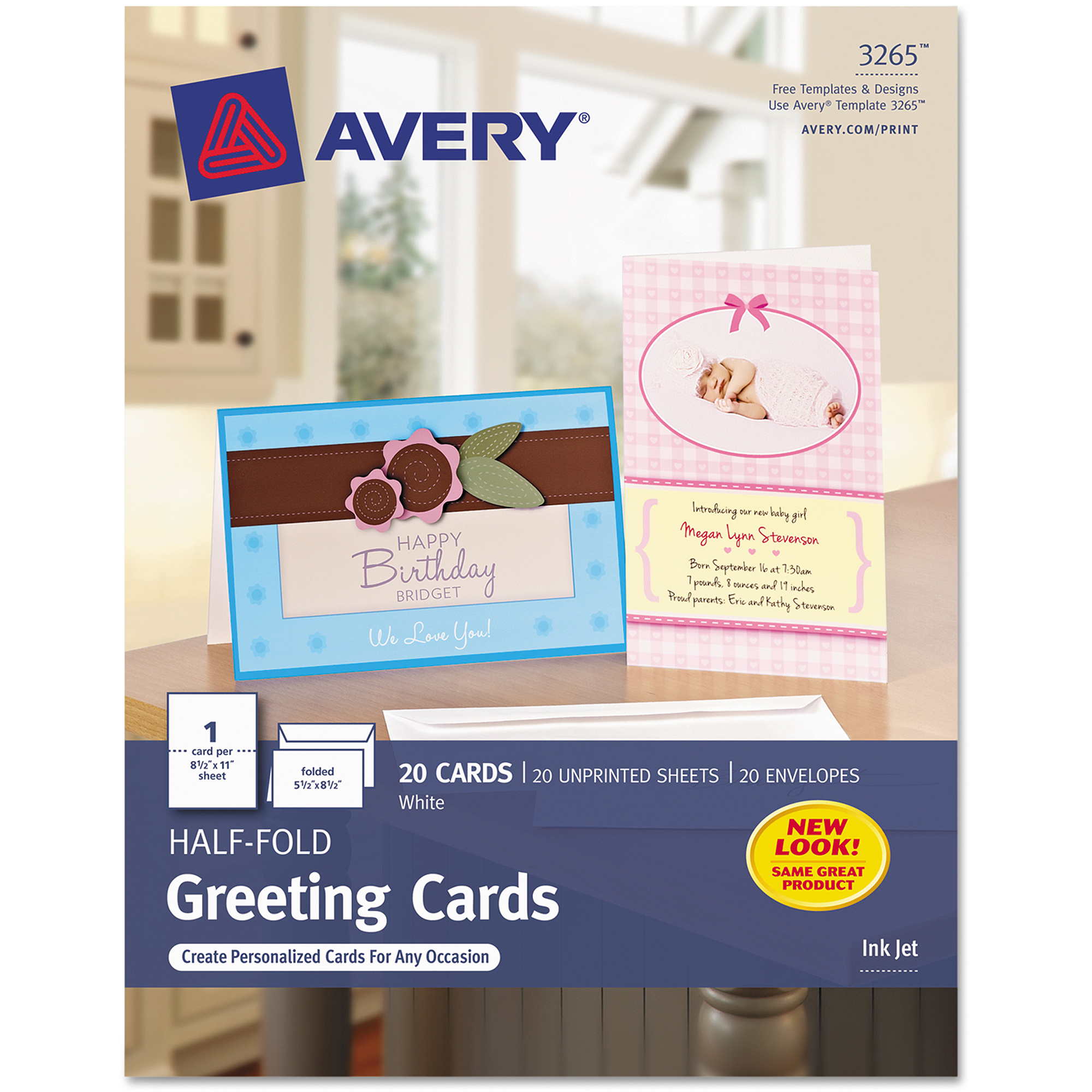 "Avery Half-Fold 5-1/2"" x 8-1/2"" Greeting Cards, Matte White, Box of 20"