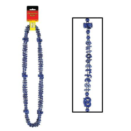 "Club Pack of 24 Metallic Blue German ""Oktoberfest"" Party Bead Necklaces 38"