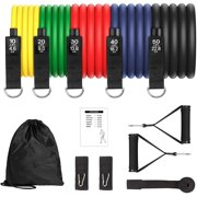 Resistance Bands Set(12pcs), Upgraded Latex Exercise Bands Stackable Up to 150 lbs Portable Workout Tubes with Door Anchor Ankle Straps Carry Bag for Indoor and Outdoor Sports