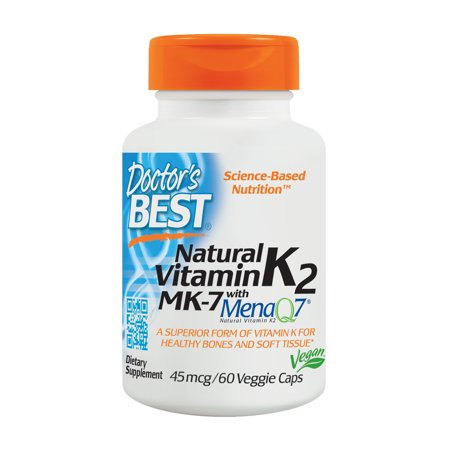 Doctor's Best Natural Vitamin K2 MK-7 with MenaQ7, Non-GMO, Vegan, Gluten Free, Soy Free, 45 mcg 60 Veggie (Best Supplements For Alzheimer's)
