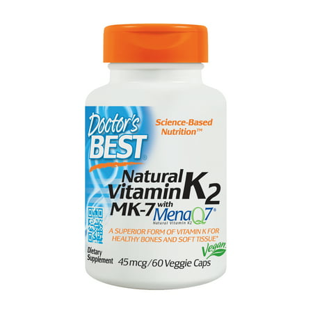 Doctor's Best Natural Vitamin K2 MK-7 with MenaQ7, Non-GMO, Vegan, Gluten Free, Soy Free, 45 mcg 60 Veggie - Green Tea 60 Veggie Caps