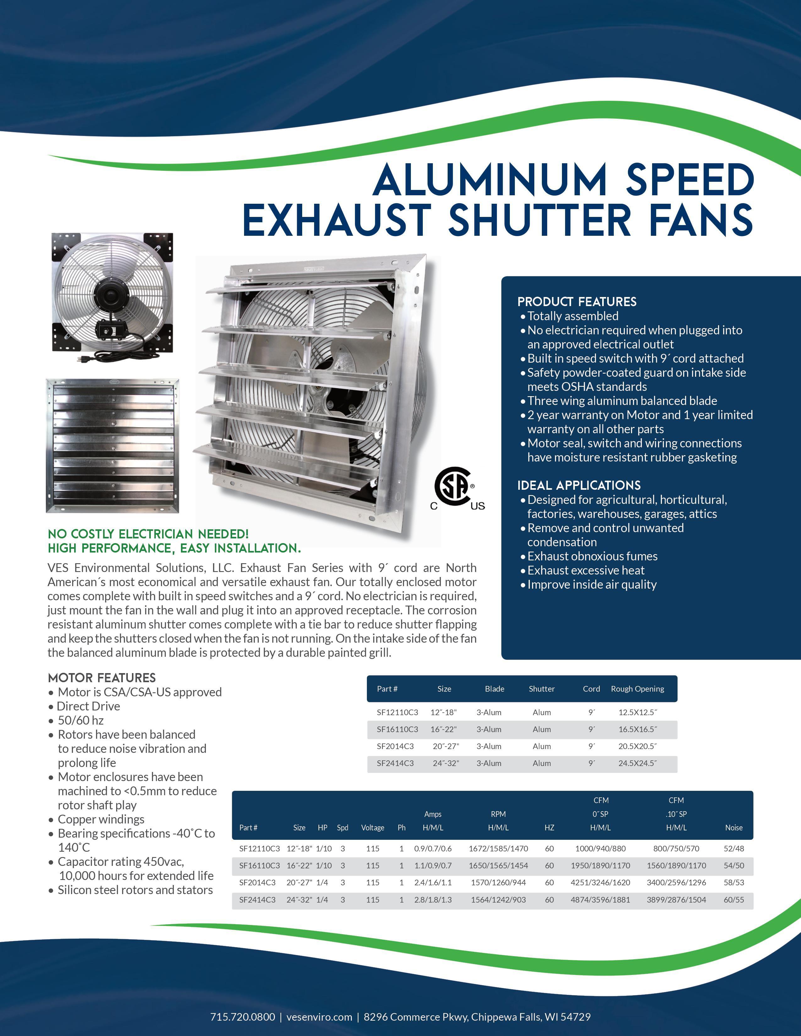 All Guard Shutters ves 12 inch shutter exhaust fan, box fan, with 9 foot cord 3