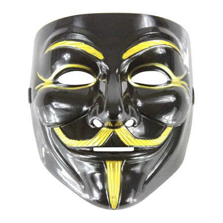 Black Mask Costume (Adult Black And Gold Guido Guy Fawkes Anarchist Anonymous Mask Costume)