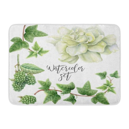 GODPOK Decoupage Beautiful of Watercolor White Gardenia Green BlackBerry and Ivy Blossom Floral Rug Doormat Bath Mat 23.6x15.7 inch (Blackberry Blossom)