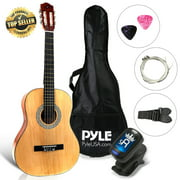 PYLE PGACLS82 - 6-String Classic Guitar - 3/4 Size Scale Guitar with Digital Tuner & Accessory Kit (36?? -inch)