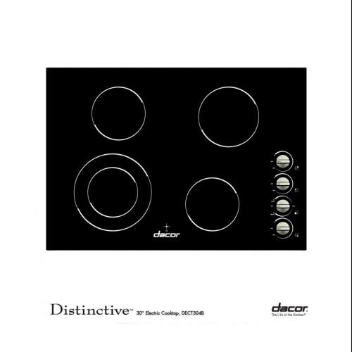 "Dacor  DECT304B Distinctive 30"" Electric Cooktop with 4 Radiant Elements  Dual Ring Elements  Multi-Directional"