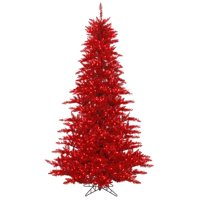 6.5 ft. x 46 in. Tinsel Red Fir Tree with 600 Red Dura Light