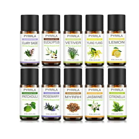 Pyrrla Top 10 Essential Oils Kit,Aromatherapy Oil Therapeutic Grade Oils For Massage & Diffuser- Jasmine/Ylang ylang/Eucalyptus/Rosemary/Lemon/Patchouli/Vetiver/Clary Sage/Myrrh/Citronella