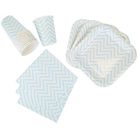 Just Artifacts Disposable Party Tableware 44 Pieces Chevron Pattern Dining Set (Square Plates, Cups, Napkins) - Color: Baby Blue - Decorative Tableware for Parties, Baby Showers, and Life - Baby Shower Colors