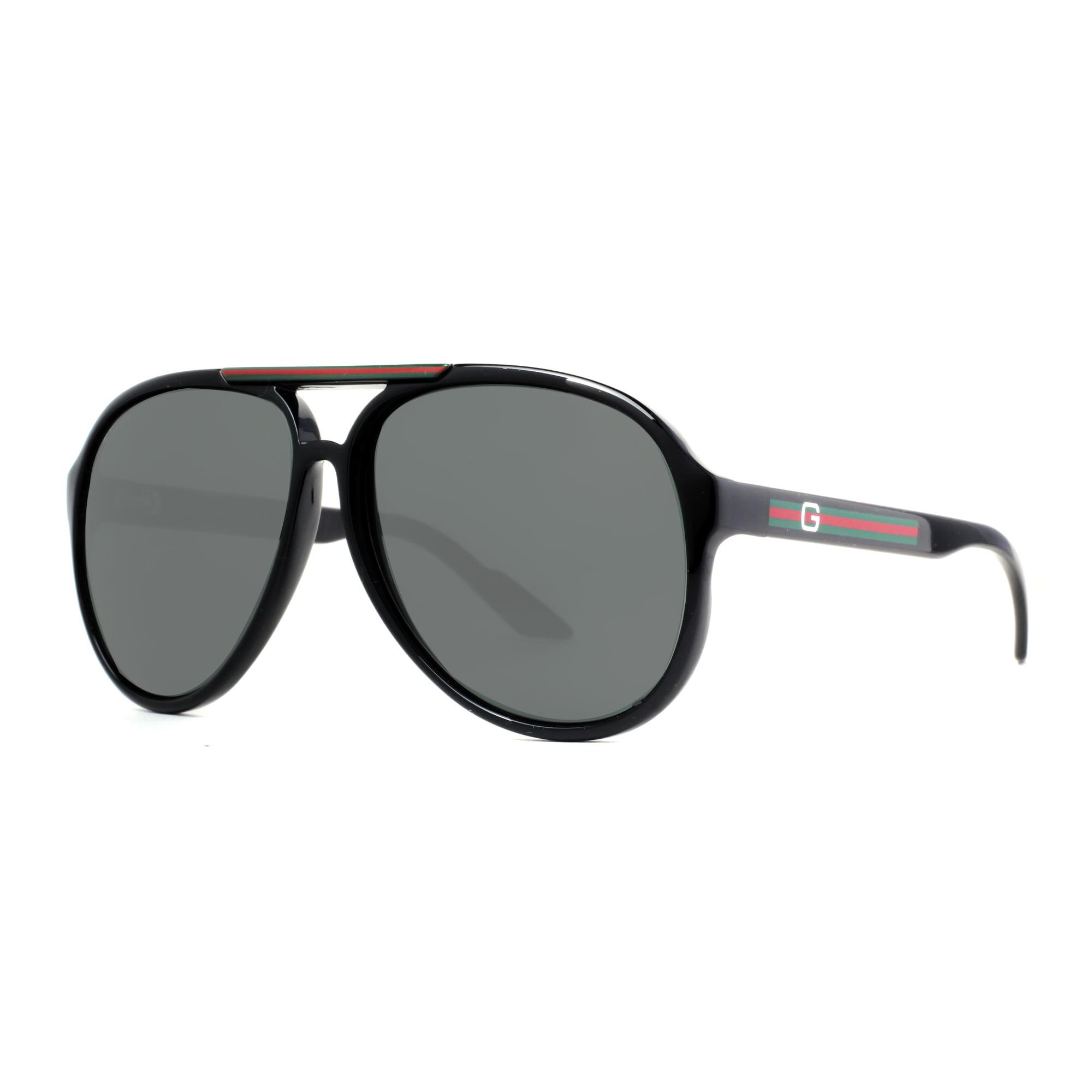 94ed1aba517de ... Havana Brown Black Rubber Men s Aviator Sunglasses. Gucci GG 1627 S  D28 R6 Shiny Black Grey Aviator Sunglasses