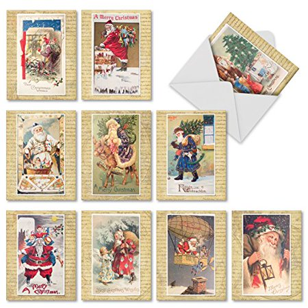 'M10040XB HOLLY JOLLY SANTA' 10 Assorted All Occasions Notecards Reproduce Visions of Santa from Antique Postcards with Envelopes by The Best Card