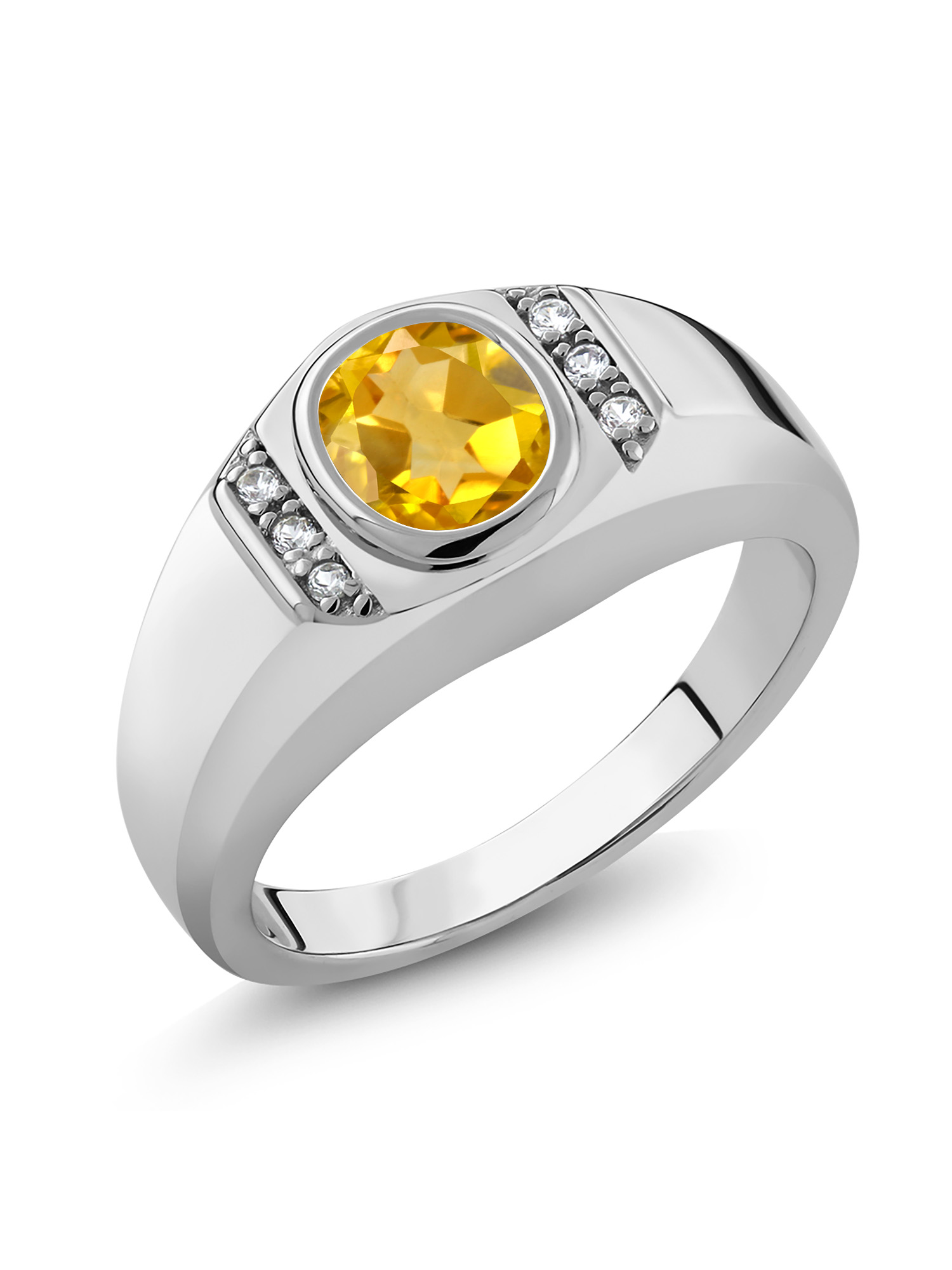 Gem Stone King 1.88 Ct Yellow Lemon Quartz Blue Diamond 18K Rose Gold Plated Silver Mens Ring