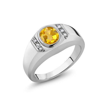 1.16 Ct Oval Yellow Citrine White Created Sapphire 925 Silver Men's (8 Oval Mens Ring Setting)