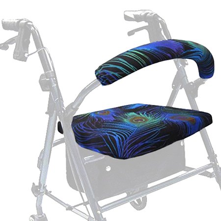 Gel Rollator Handle Covers - Crutcheze Peacock Feathers Rollator Walker Seat and Backrest Covers Designer Fashion Accessories Made in USA