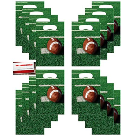 Football Tailgate Rush NFL Game Day Super Bowl Party (16 Pack) Plastic Loot Treat Candy Favor Bags (Plus Party Planning Checklist by Mikes Super Store) - Nfl Party
