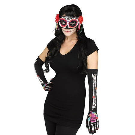 Womens Day Of The Dead Dia De Los Muertos Mask And Gloves Costume Accessory (Women's Dia De Los Muertos Mask)