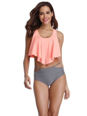 7b548d637333d Product Image TOPCHANCES Swimwear Switmsuit Bikini Set for Women Two Pieces Bathing  Suits Top Ruffled Racerback with High