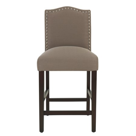 "DHI Upholstered 26"" Counter Stool with Nail Head Trim, Dolphin (Brownish-Grey)"