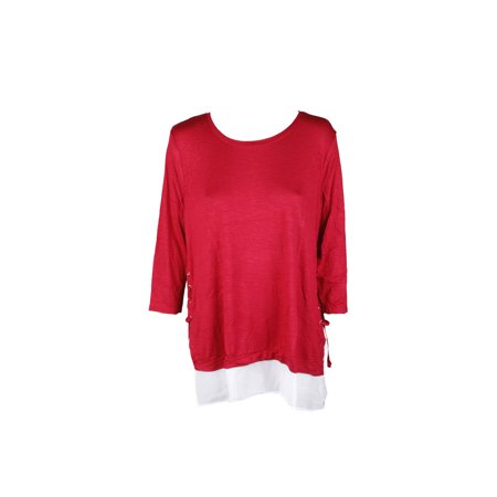 Style & Co. Plus Size Red 3/4-Sleeve Layered Top 0X (Red Tops Plus Size)