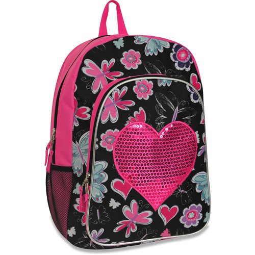 "Hot Pink Floral 17"" Backpack"